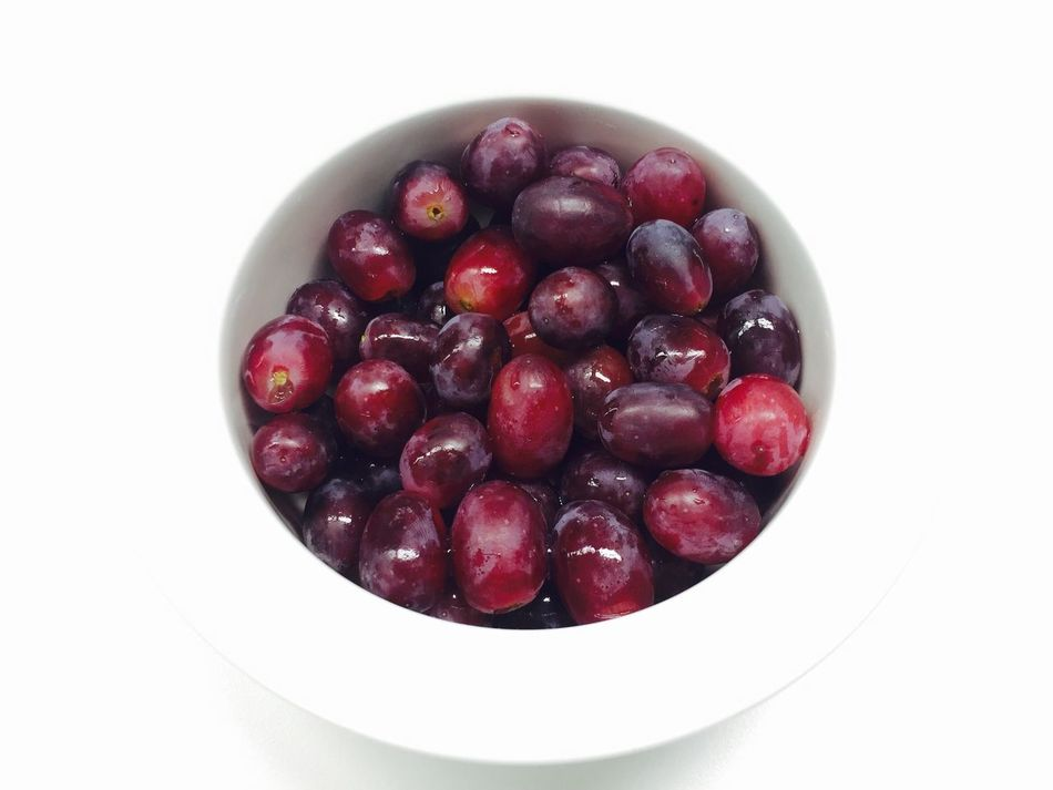 Fruit Freshness Food And Drink White Background Healthy Eating Bowl Red Food Close-up No People Day Eyeemphotography Freshness Taking Photos Food And Drink Grapes Red White Round Top View