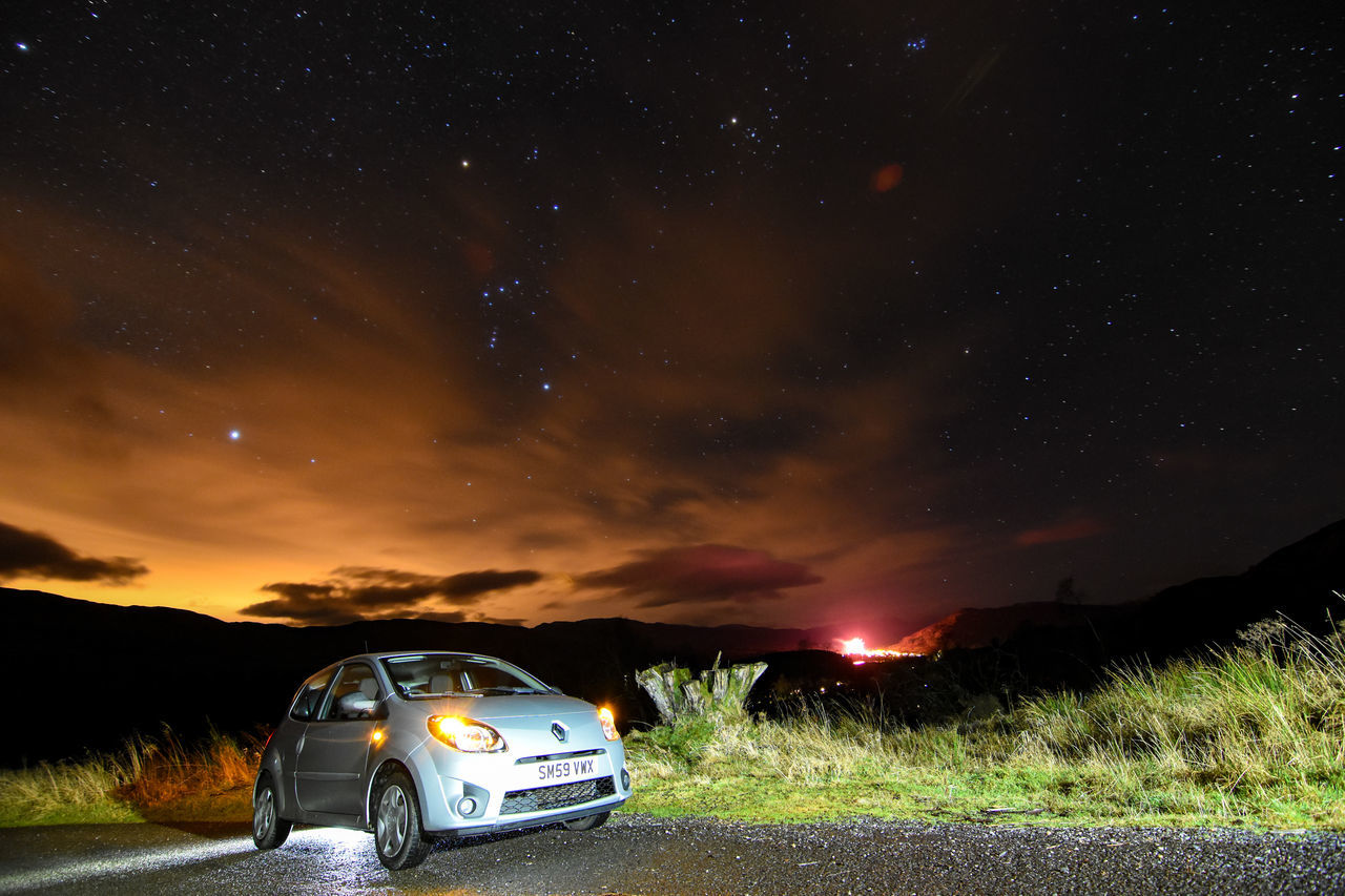 Scotland Killin  Benlawers TWINGO NewYear Starry Sky Renault Loch Tay Orions Belt Starscape Astrophotography Constellation Astronomy Tokina 11-16 Mm F/2,8