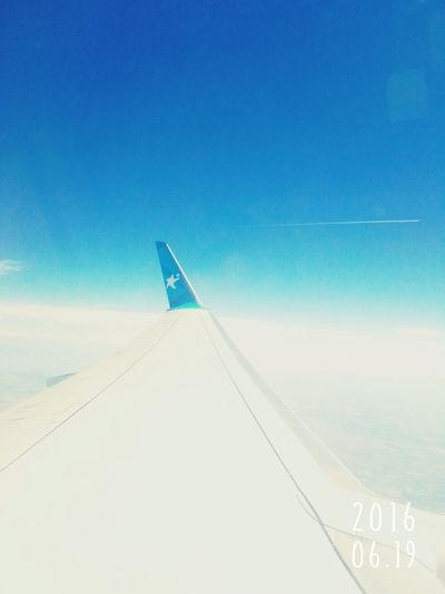 Sky Blue Sky Above The Clouds Airplane Traveling Travel Somwhere