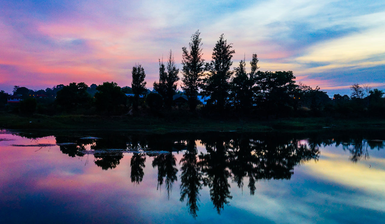 sky, reflection, sunset, beauty in nature, nature, cloud - sky, tranquil scene, tranquility, tree, scenics, water, orange color, outdoors, silhouette, lake, no people, waterfront, travel destinations, day