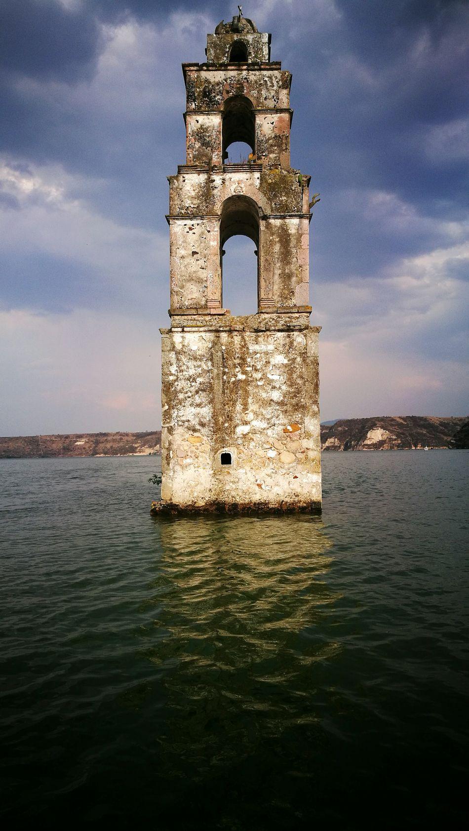 Campanario Torre Inundado Iglesia Church Church Tower Inundations Underwater Mexico Tower Bell Tower