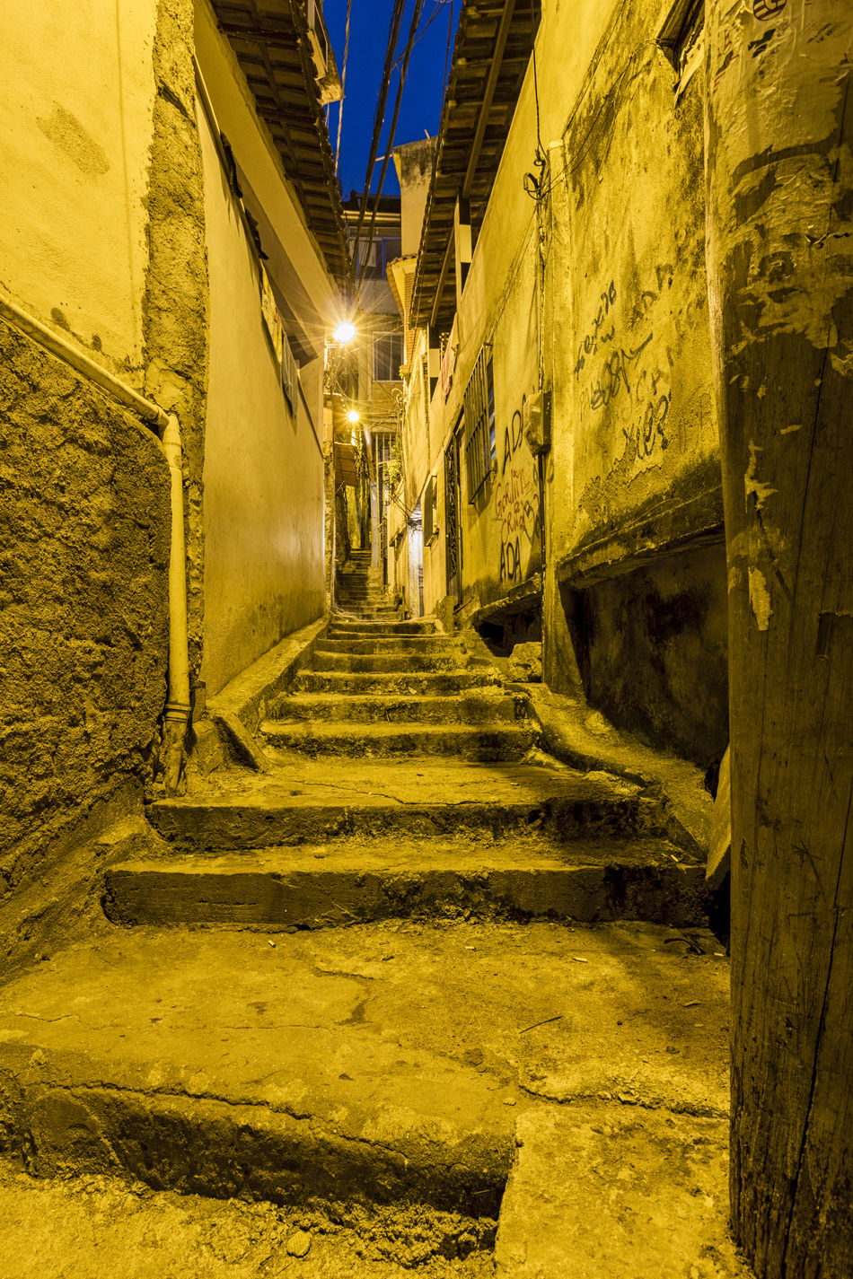 Alleyway in the favela Vidigal Architecture Building Exterior City Favela Favelabrazil Favelas Illuminated Night No People Outdoors Rio De Janeiro Stairways Vidigal