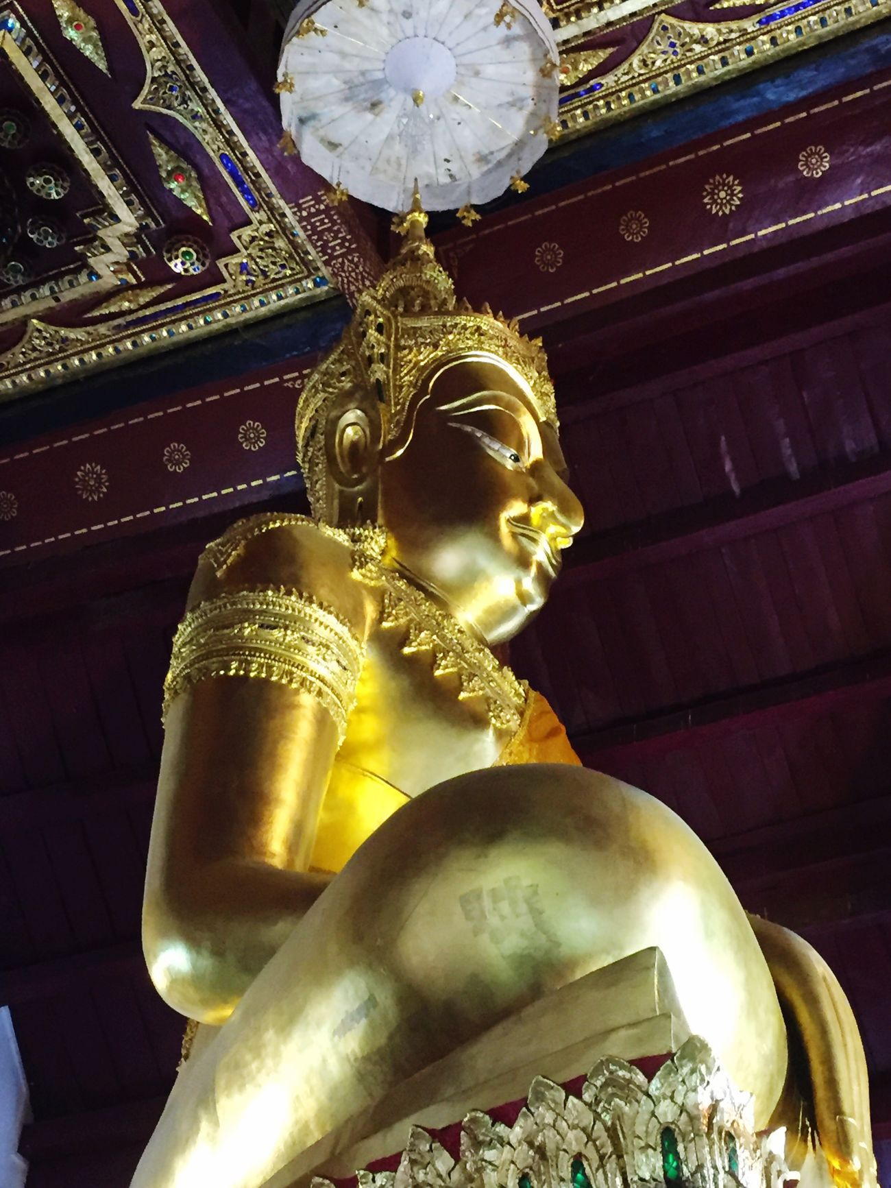 Listening to Buddha Religion Gold Colored Place Of Worship Human Representation Statue Spirituality Sculpture Travel Destinations Indoors  No People Shield Day