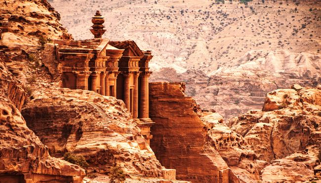 A view across the valley at Petra, Jordan with the Monastery peeking out the top. Jordan Petra Monastery Travel Expat Life Landscape Landscape_photography