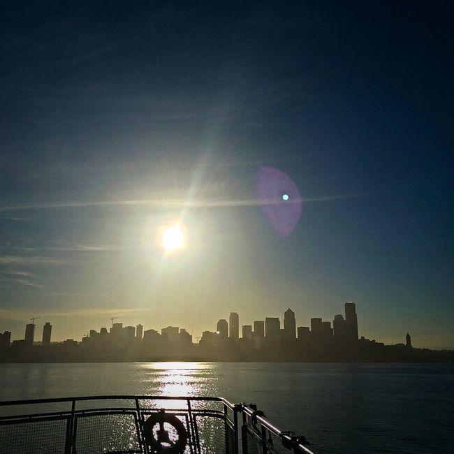 Bainbridge Island Ferry Ferry Ferry Passengers Seattle Seattle Skyline Seattle, Washington Sunrise Washington Ferry My Commute Lens Flare Travel Photography Travel Travel Destinations Feel The Journey