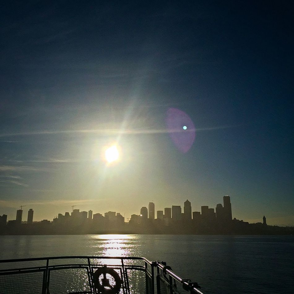 Bainbridge Island Ferry Ferry Ferry Passengers Seattle Seattle Skyline Seattle, Washington Sunrise Washington Ferry My Commute Lens Flare Travel Photography Travel Travel Destinations Feel The Journey