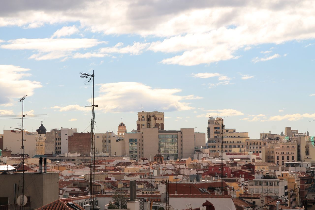 Building Exterior Architecture Built Structure City Sky Residential Building Day Cityscape Outdoors Cloud - Sky No People Roofs Rooftop View From Terrace My Favorite Place Check This Out Taking Photos EyeEm Best Shots Hanging Out Enjoying Life Roof Architecture City Travel Destinations Madrid