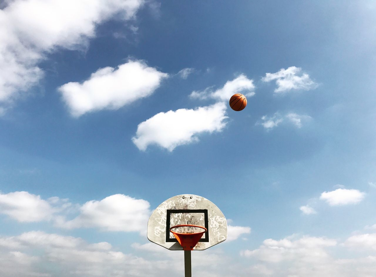 Sky Cloud - Sky Outdoors No People Day Nature Low Angle View Basketball Hoop Beauty In Nature Ball Basketball London IPhoneography Hoops Hoopdreams Basket Backboard Blue White Orange
