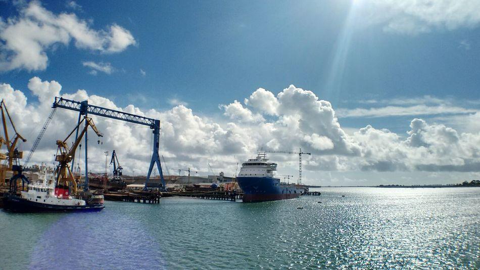 Cloud - Sky Water Outdoors Industry Nautical Vessel No People Day Huelva, Spain Huelva Astilleros Astilleros De Huelva Ríos Rio Río Odiel Odiel Sun Flare River Rivers From A Bridge