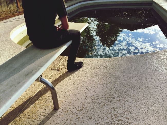 Sitting Pool Reflection Clouds Clouds And Sky Dirty Person Mypointofview Diving Board Amateurphotography Blah