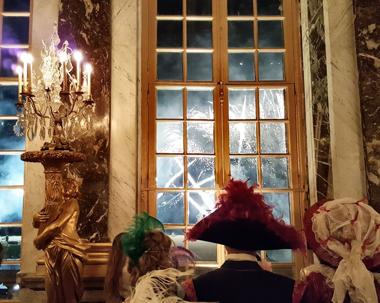 Window Firework Display Firework Fireworks Fireworks Photography Versailles At Night Luxury Rococo 18th Century Style The Hall Of Mirrors Hall Of Mirrors Castle Fêtes Galantes Party Rococo Illuminated Indoors