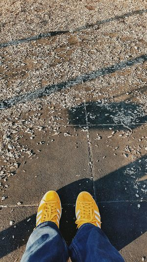 Light And Shadow From My Point Of View Shoot The Street With Pointer Footwear Yellow Relaxing Vscocam Taking Photos Eye4photography  Legs