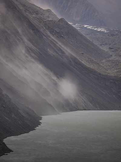Beauty In Nature Cold Temperature Day Fog Landscape Mist Motion Mount Cook Mount Cook National Park Mountain Nature No People Outdoors Physical Geography Power In Nature Scenics Sky Snow Tasman Lake Tranquil Scene Tranquility Travel Destinations Water Waterfall Winter