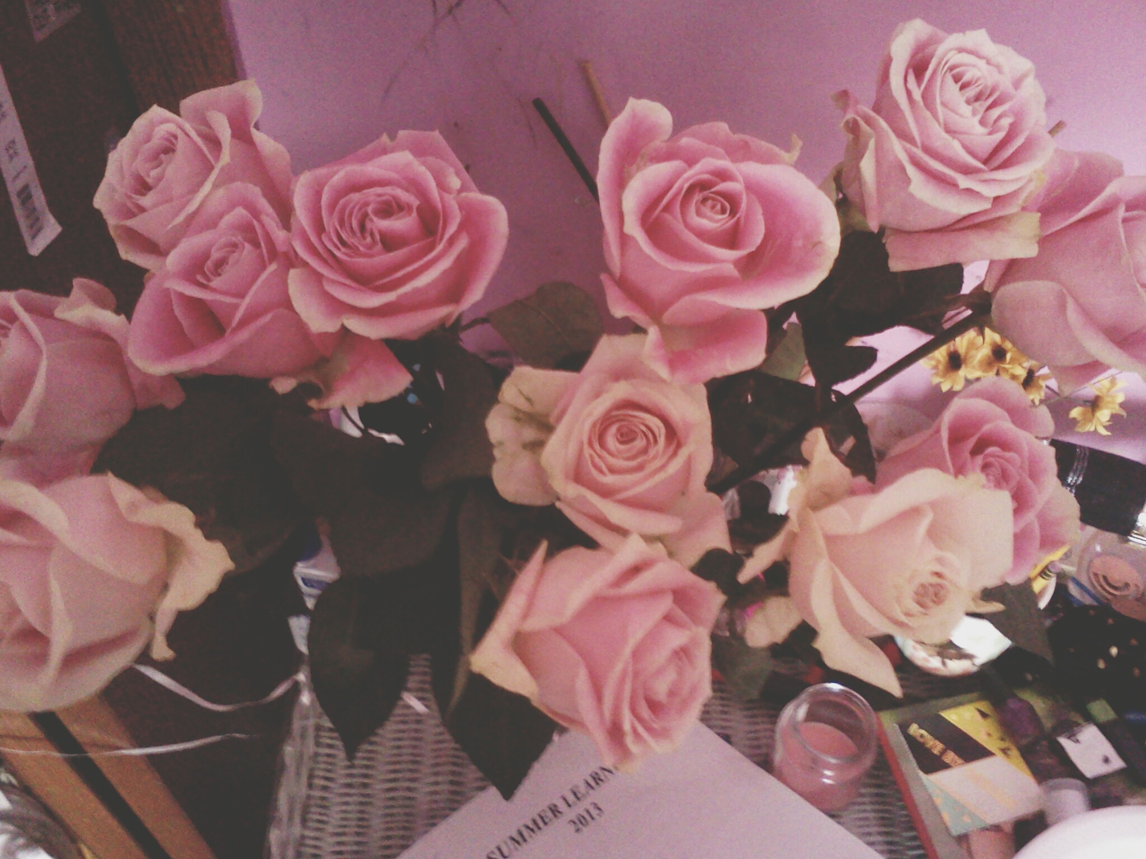 flower, petal, indoors, freshness, pink color, fragility, rose - flower, flower head, bouquet, beauty in nature, close-up, vase, high angle view, bunch of flowers, rose, nature, pink, flower arrangement, no people, blooming