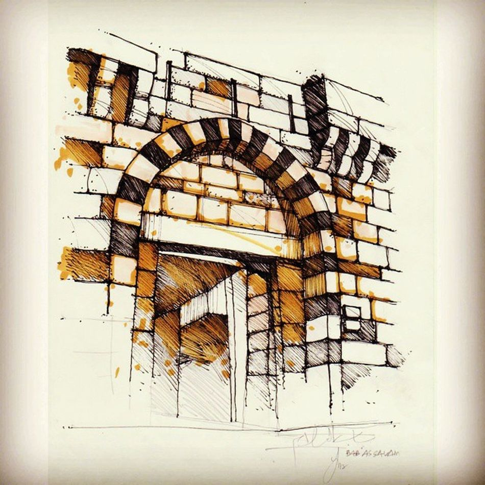 Babussalam....one of the doors located at different area of old city of damascus.. Syria  Damascus  Oldcity Sketch Landscapestudiotrip
