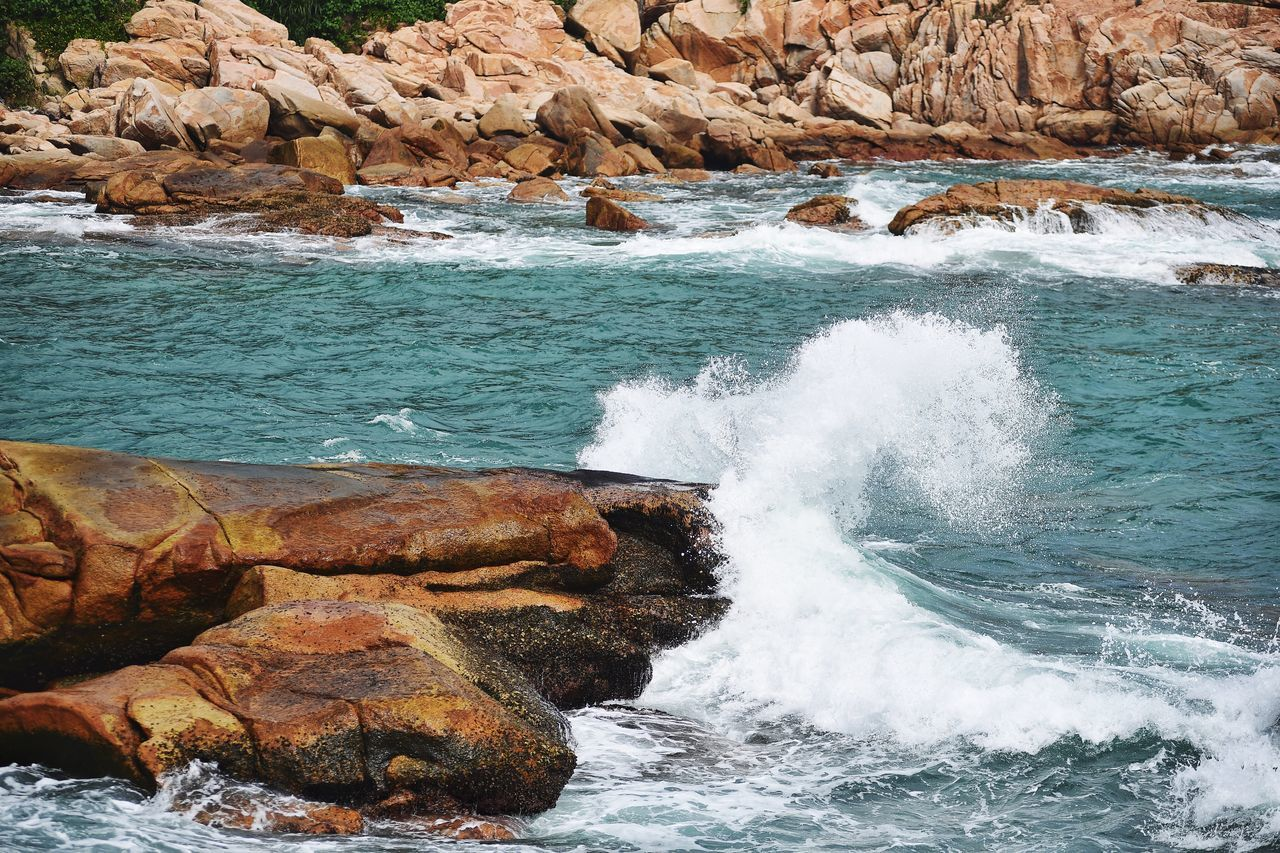 Wave in action Water Rock - Object Nature Motion Wave Power In Nature No People Day Beauty In Nature Sea Outdoors Landscape_Collection The Week Of Eyeem Fresh On Eyeem  Splash Hong Kong HongKong Shek O Wave
