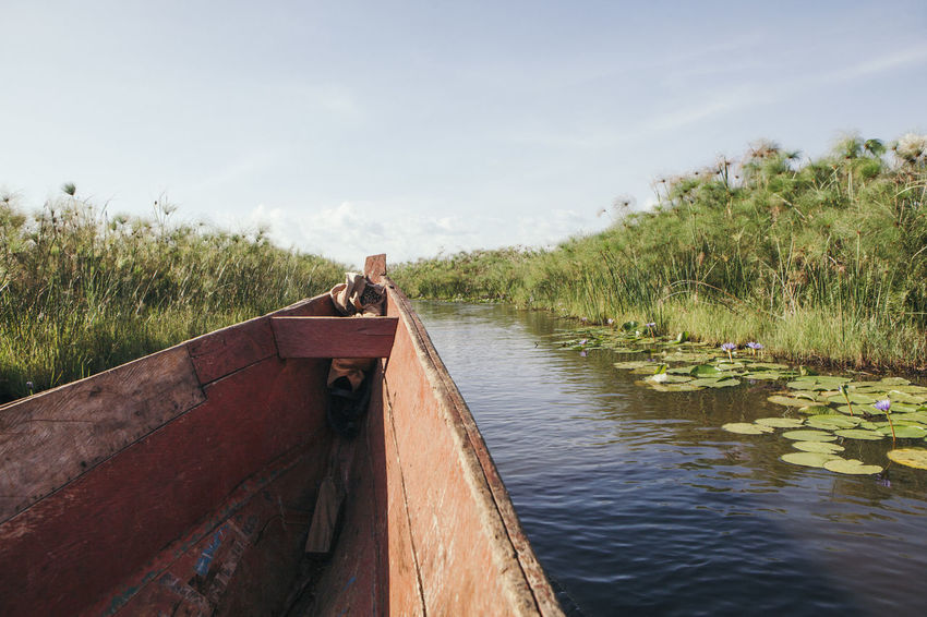 Adventure Africa African Boat Boats Canoe Canoeing Day Destination Discovering Exploring Journey Nature Nature No People Outdoors Personal Perspective Plants River Sky Sunny Travel Traving Water Wooden Boat