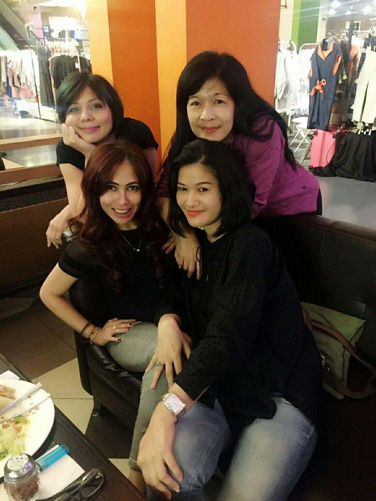 Enjoy The New Normal Sitting Portrait Looking At Camera Togetherness Friendship Indoors  Archival Leisure Activity People Selfie Fun Cafe Socializing Social Gathering Oldfriends Meeting Friends Meetup EyeEm Eyeemphoto Having A Good Time Girls Girls Night Out Beautifulgirls Mature Women