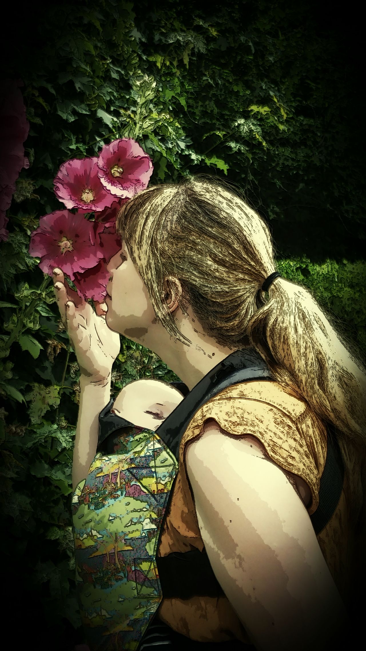Showcase July Flowers Natural Beauty Comic Filter Babywearing Baby Sling Connecta Natural Parenting Mothers Love Samsungphotography Colour Of Life