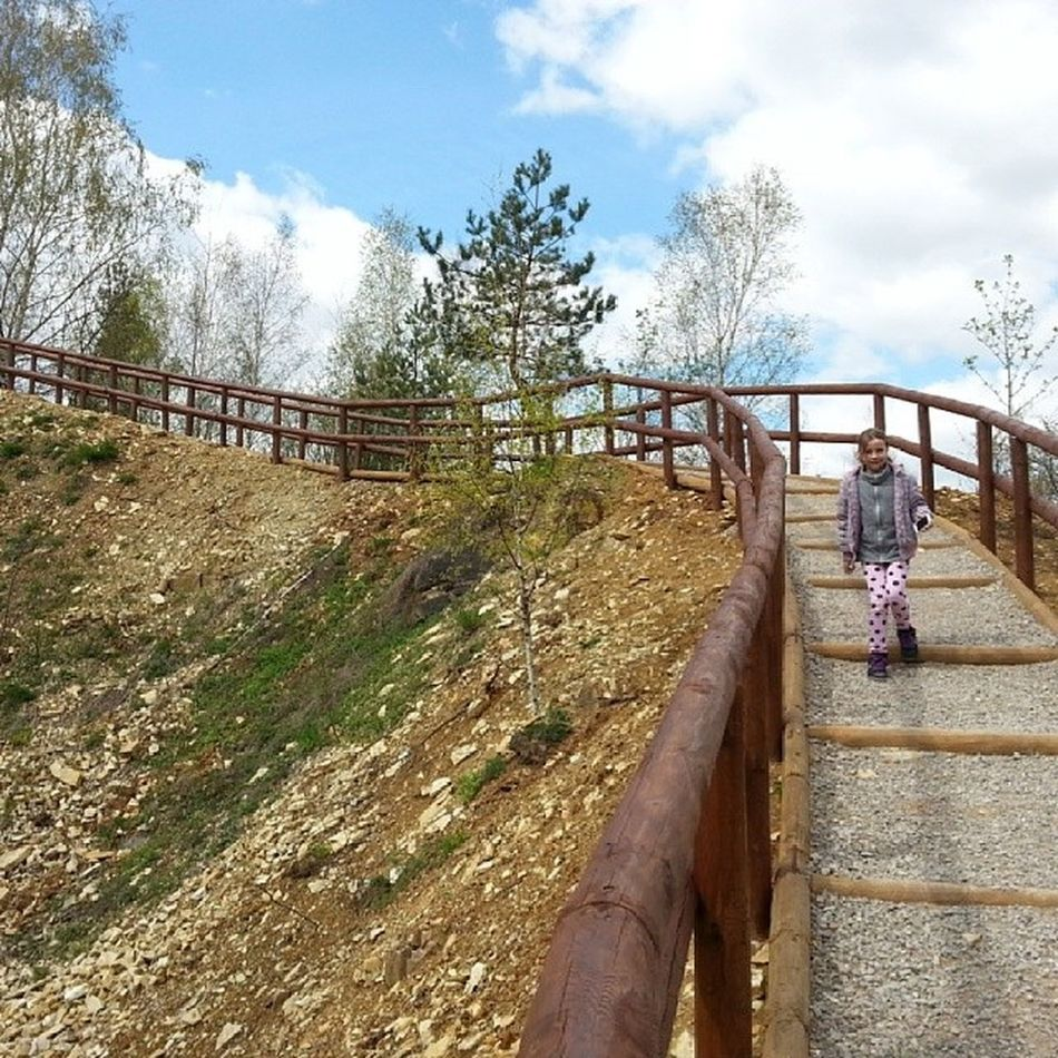 Geostrefa Jaworzno Poland City park landskape nature tree krajobraz sun sunshine clouds skylovers blue colours girl polish road stones