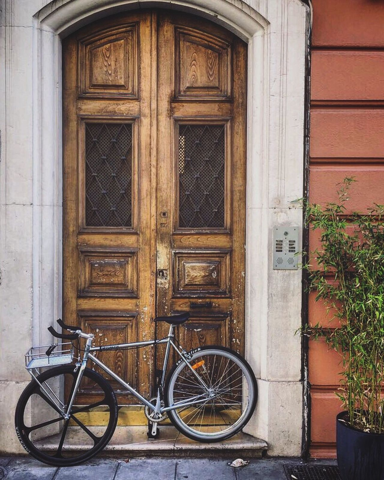 Singlespeed Fixie Bicycle Bike Door Wood Côte D'Azur France Nice Streetphotography