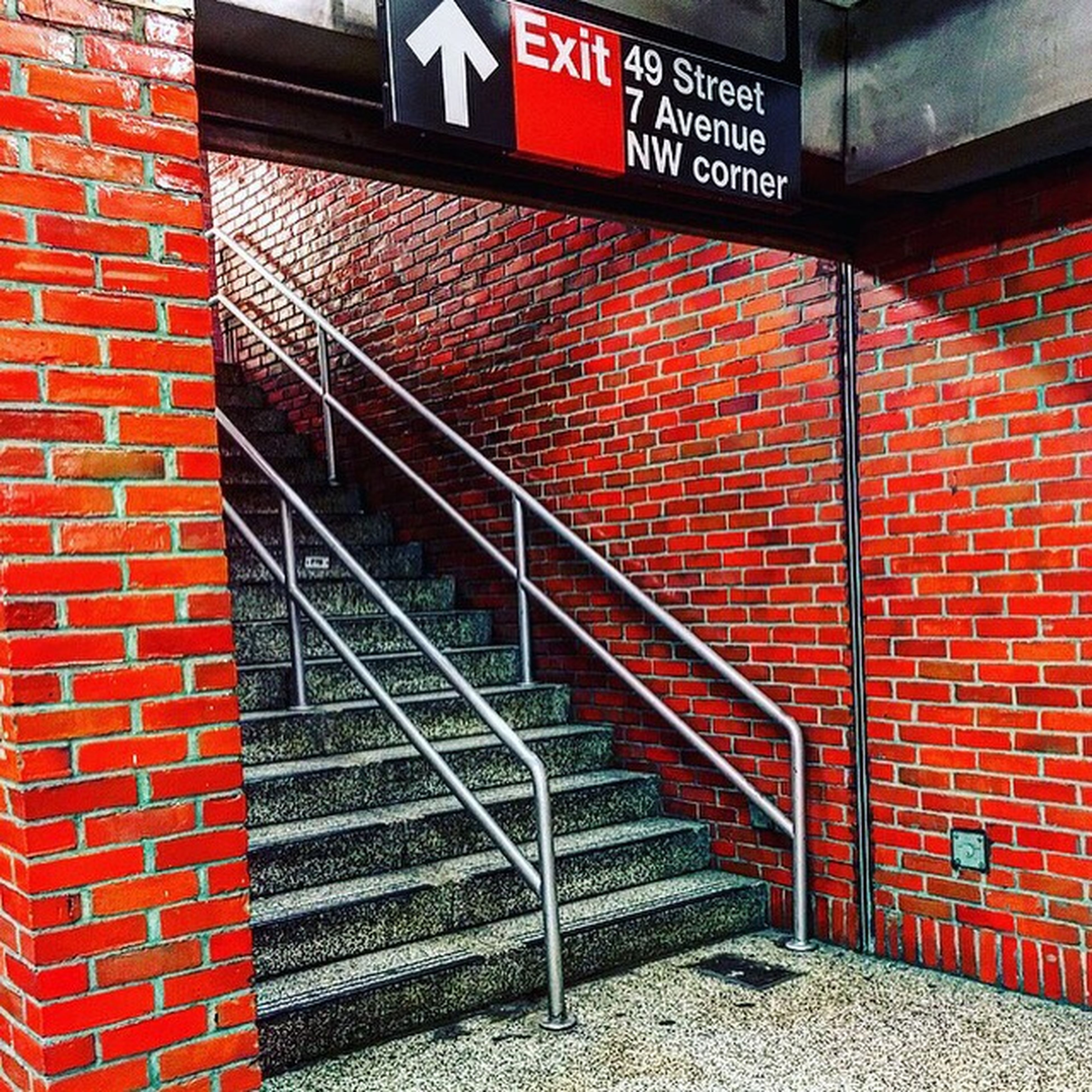 red, architecture, built structure, brick wall, wall - building feature, building exterior, steps, steps and staircases, staircase, metal, railing, day, wall, text, brick, no people, communication, western script, outdoors, pattern