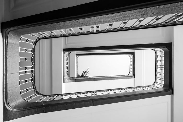 the stairway ... Architecture Architecture Architecture_bw Architecture_collection Best Of Stairways Built Structure Design Directly Below Geometric Shape Indoors  No People Pattern Railing Spiral Spiral Staircase Staircase Stairs Stairs Stairway Steps Steps And Staircases Treppe Treppenhaus