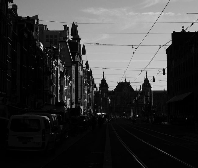Early Morning Amsterdam Architecture Building Exterior Transportation Built Structure Mode Of Transport Railroad Track City Road The Way Forward City Life Diminishing Perspective Power Line  Blackandwhite Pentax