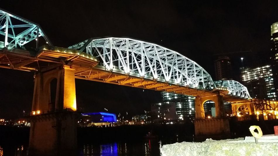 Night Illuminated Architecture Bridge - Man Made Structure Travel Destinations Built Structure No People nashville skyline night Bridge Over Water Lit Up Night Life Stunning Awesome Love