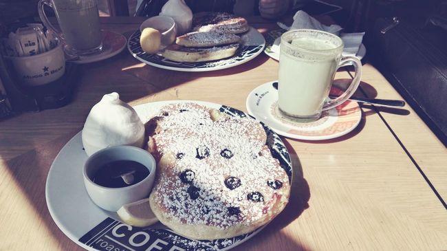 Breakfast Blueberry Flapjacks Ice Cream Matcha Green Tea Latte Food Sisterly Bonding Early Morning Unfiltered