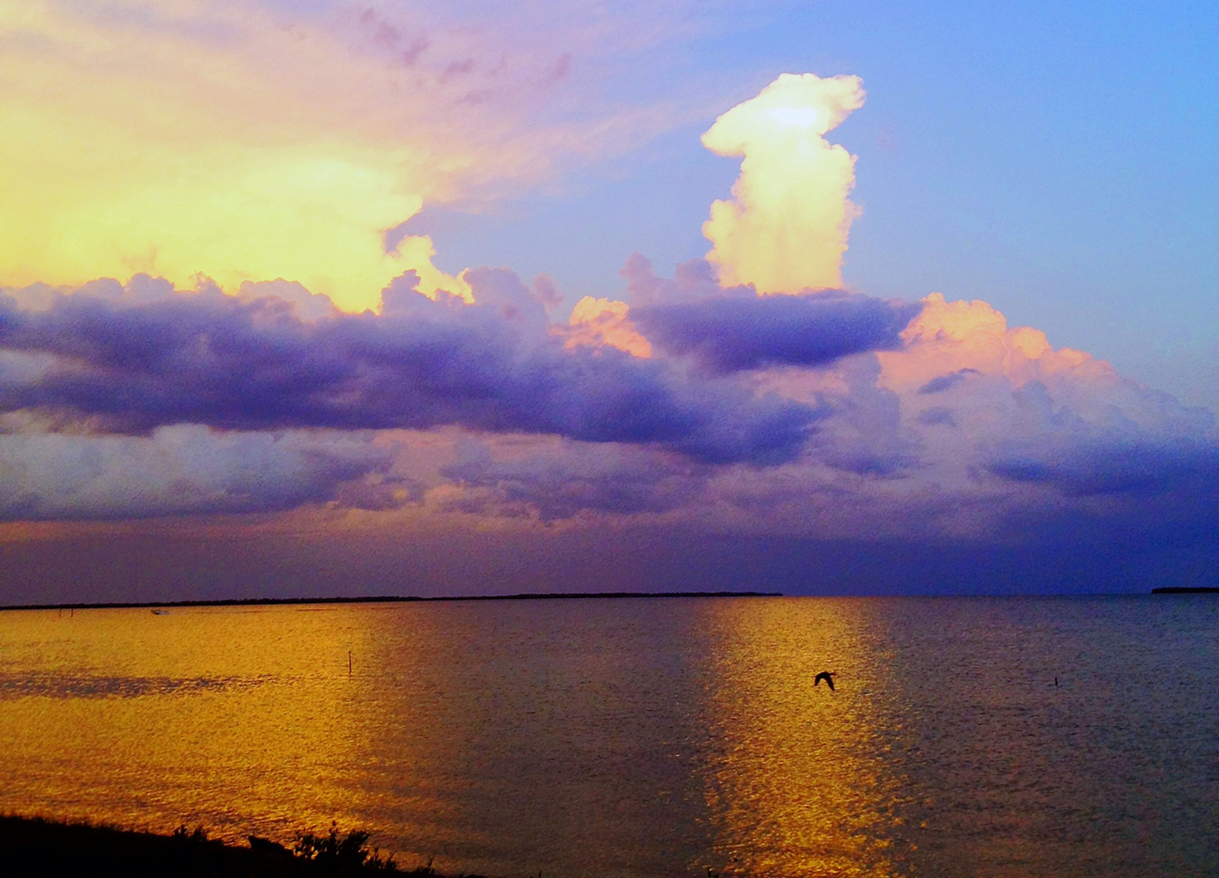 tranquil scene, scenics, sky, sunset, tranquility, water, beauty in nature, sea, horizon over water, cloud - sky, idyllic, nature, cloud, cloudy, orange color, reflection, calm, waterfront, dramatic sky, outdoors