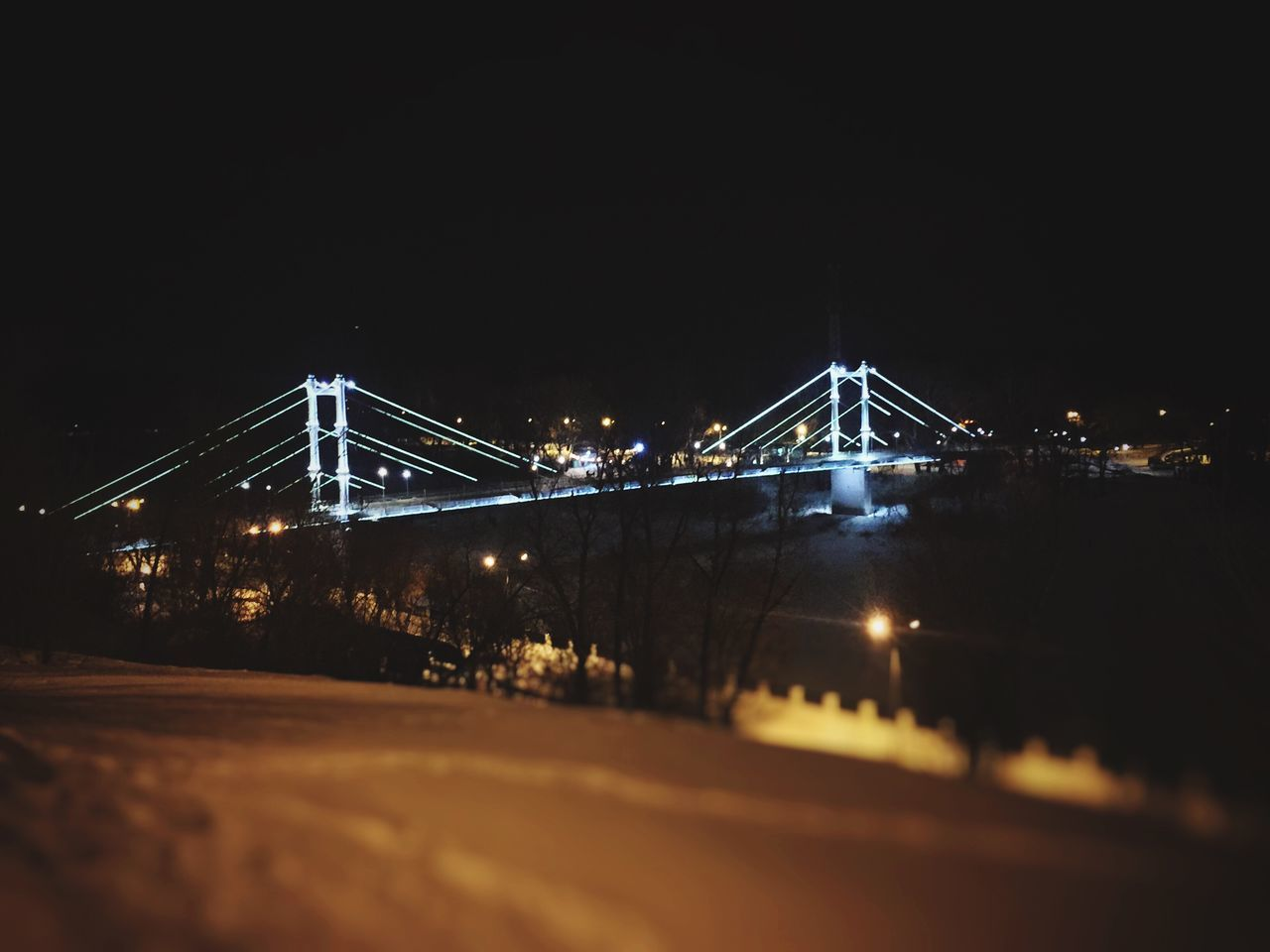 Night Illuminated Connection Bridge - Man Made Structure No People Transportation Suspension Bridge Sky Architecture Outdoors IPhoneography Iphone6 image by @222artem