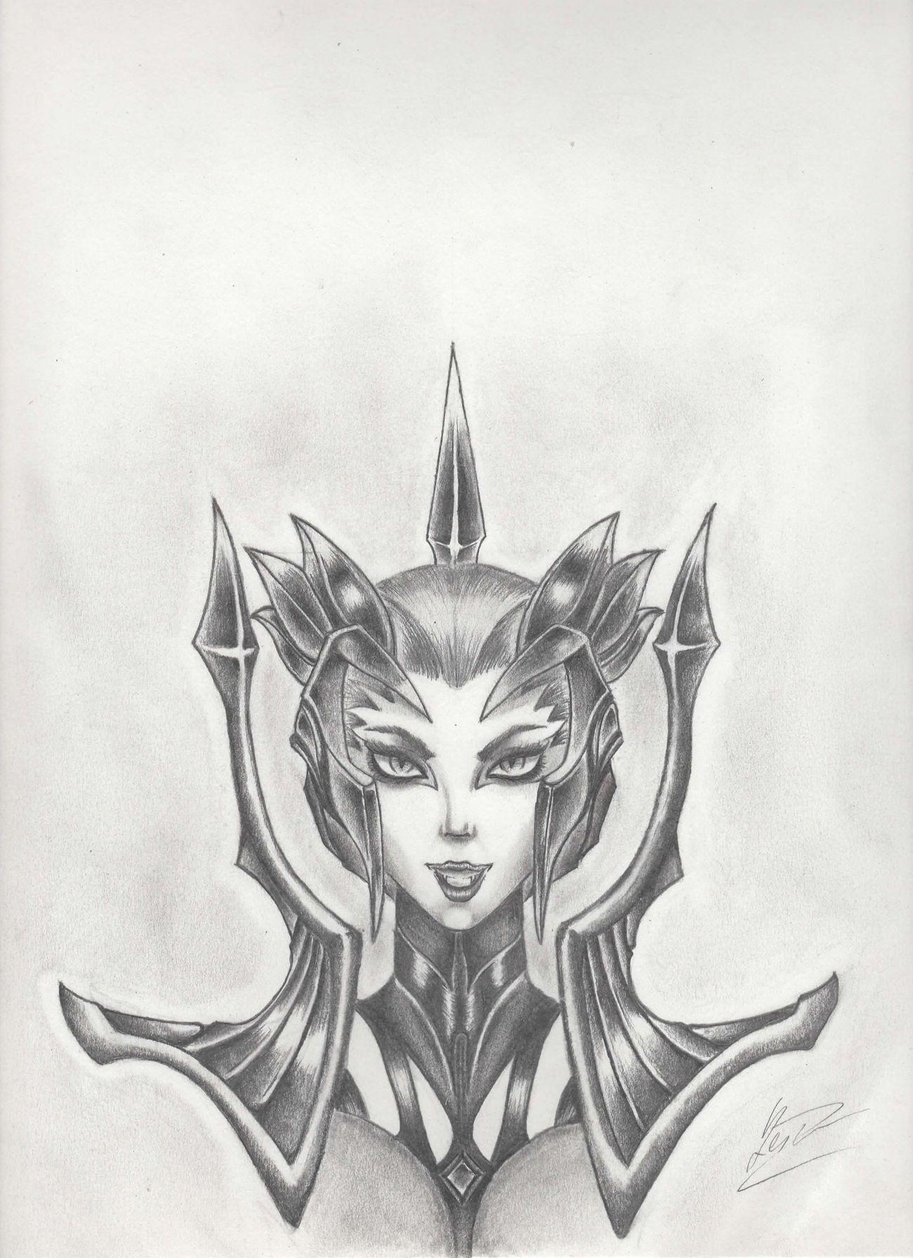 Elise from lol LeagueofLegends League Of Legends Art Drawing Pencil Drawing Fanart Fan Art Black And White Portrait Drawing ✏ Draw