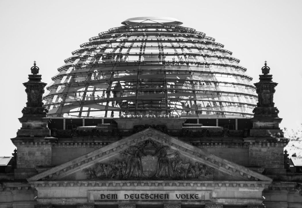 Architectural Column Architectural Feature Architecture Built Structure Capital Cities  City City Life Culture Dem Deutschen Volke Dome Façade Famous Place Glass History Kuppel Low Angle View Reichstag Reichstagskuppel Tall - High The Past Tourism Travel Destinations