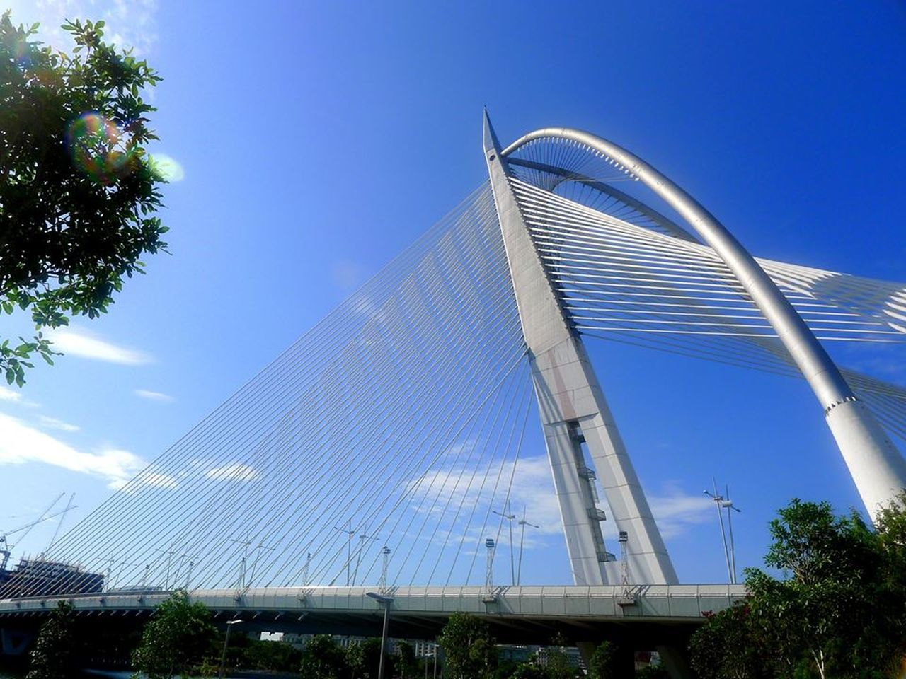 Architecture Blue Sky Bridge Built Structure Cabled Stayed Engineering Putrajaya,malaysia Sky