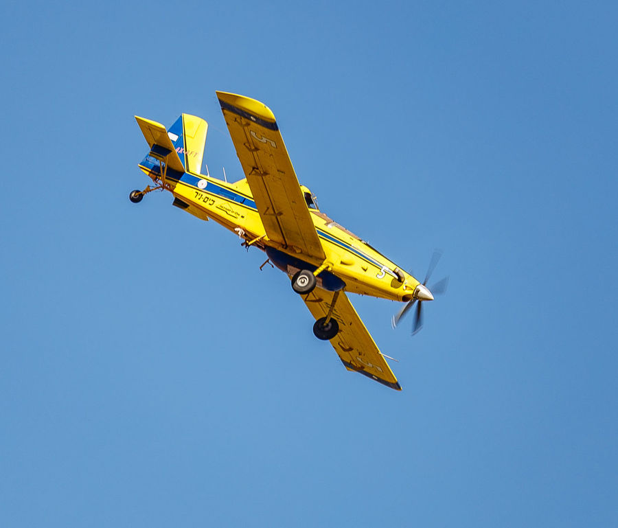 Air Tractor AT-802 Air Vehicle Airplane Blue Clear Sky Day Flying Low Angle View Outdoors Sky
