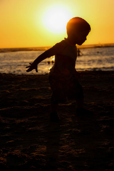 Beach BestEyeEmedits Boy Child Kid Outdoors Real People Sand Sea Shadow Silhouette Summer Summer2015 Summertime Sun Sunset Vacations Water Weekend Activities My Best Photo 2015