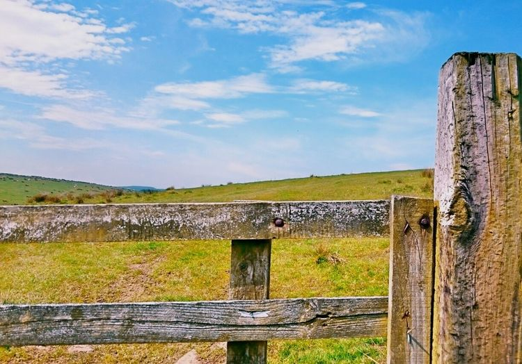 Wooden Fence Countryside Textures And Surfaces Sunny Day Rough Texture Grassland Blue Sky Rural Scene