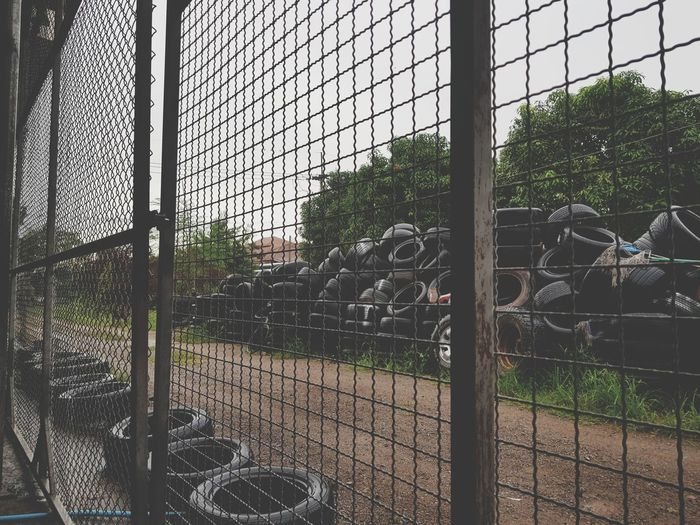 Stop Chainlink Fence Metal Protection Safety Day Sky No People Outdoors Metal Grate Greenhouse Metal Industry