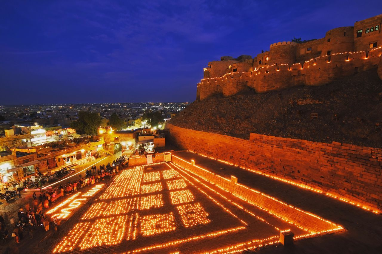 With Love from Jaisalmer... lightings up near the Golden Jaisalmer Fort before the Desert Festival in Jaisalmer, Rajasthan, India Architecture Building Exterior Built Structure Sky High Angle View Illuminated Outdoors City Night Cityscape Nature