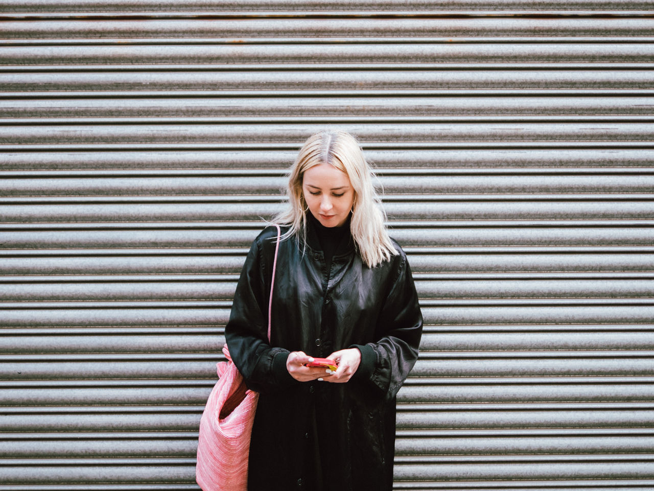 check check the phone Backgrounds Blond Hair Metal Smart Phone Young Adult Young Women Young Women Style