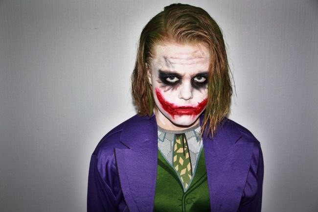 Anger Horror Looking At Camera Spooky One Person Real People Portrait Zombie Blond Hair Halloween Evil Face Paint Young Adult Person Young Women Adult People Joker Moviestar Villain Our middle son getting ready for halloween school dance. The mother knows her stuff when it comes to makeup