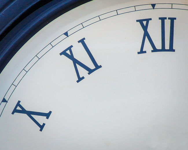 Blue City Clock Close-up Detail Lines Low Angle View Numbers Outdoors Roman Numerals Tower White Market Reviewers' Top Picks