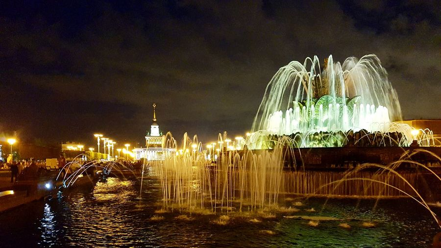 Night Illuminated Water Fountain Architecture Tourism Russia Moscow VDNH Beauty In Nature Vdnh Night Walking Night Fountain Nature Photography S7 Edge Photography Splashing Outdoors City Life Spraying City