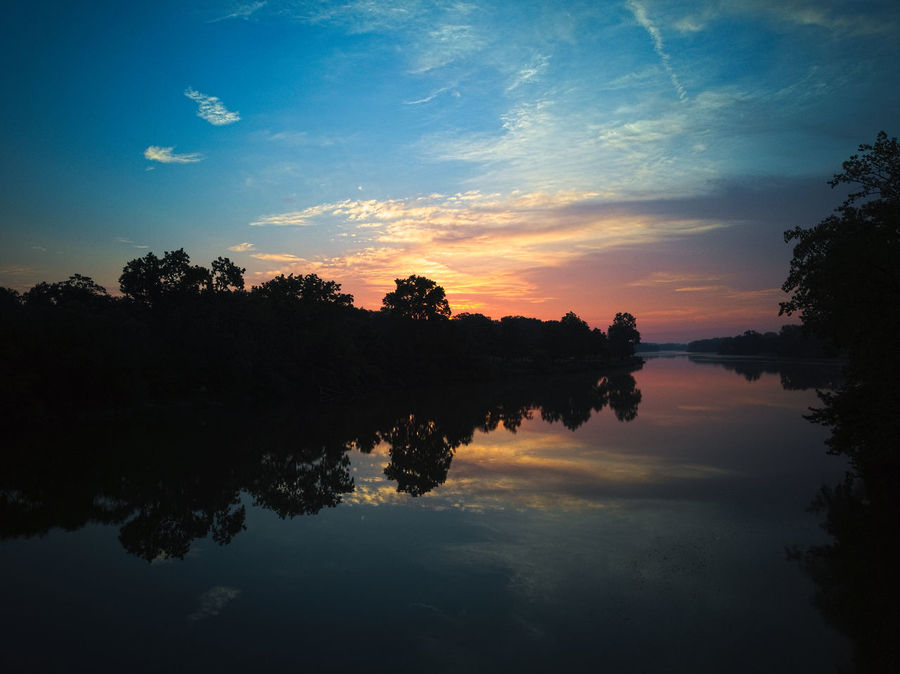 Reflection Sunset Tree Silhouette Water Sky EyeEm SelectsEyeEm Nature Lover The Week On EyeEm Outdoors No People Scenics Nature Beauty In Nature Day Maumee River Aulglaize River