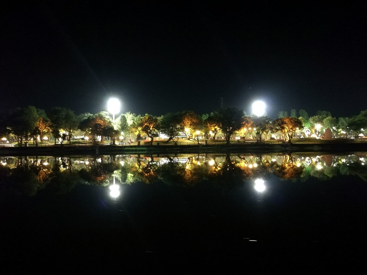 Night Reflection Water Sky Beauty In Nature Outdoors Nature Riverside River View Adapted To The City