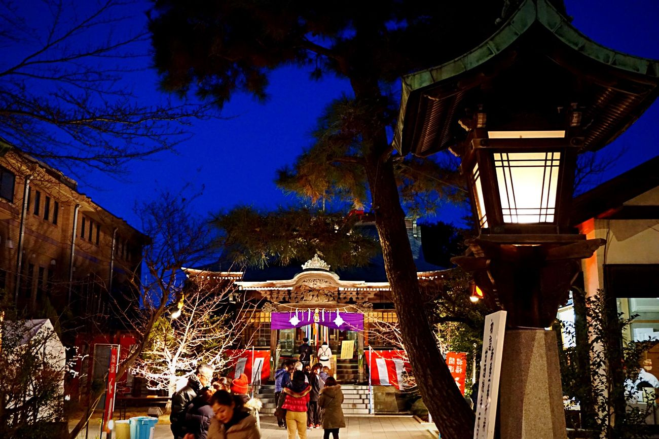 New Year Around The World Shrine Light And Shadow Tokyo Night Setagaya Japan