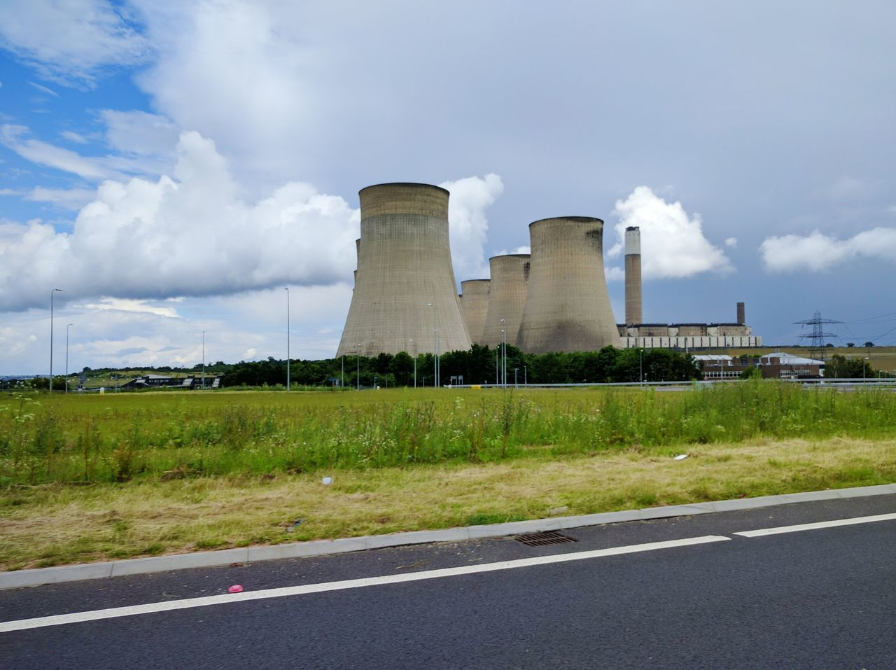 built structure, sky, cloud - sky, architecture, day, road, industry, outdoors, no people, building exterior, grass