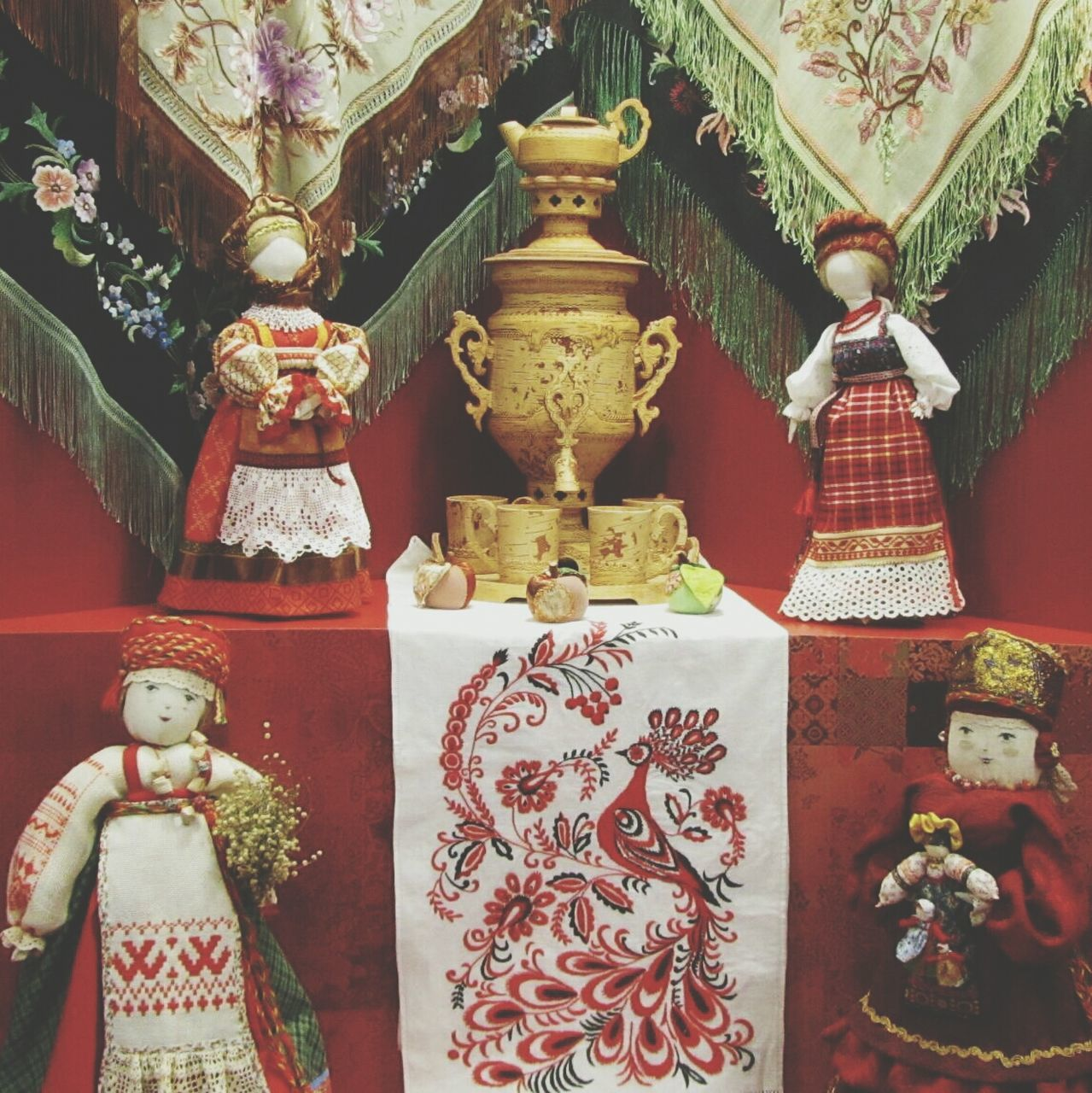 Close-Up Of Different Dolls At Exhibition