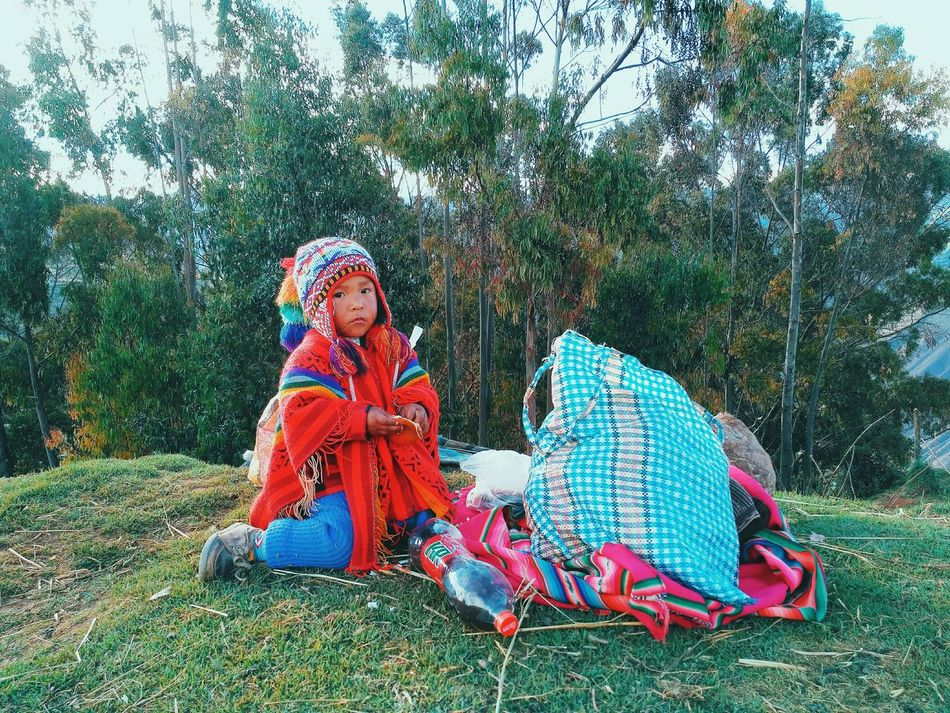 Peruvian child helping the familly knitting Peru Peruvian Peruvian Culture Peruvian Boy Peruvian People Peruvian Handicrafts Peruvianart Peruvianstyle Pachamama  Colour Children Cute Grass Nature Outdoors Warm Clothing Day Full Length Tree People